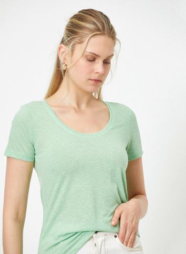 Koton U Yaka Kisa Kollu Basic T-Shirt Yeşil
